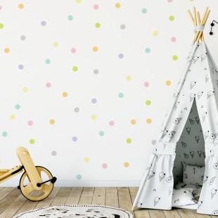 Detské nálepky na stenu s motívom farebných bodiek
