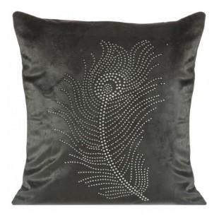 Čierna zamatová obliečka na vankúš s trblietavou aplikáciou v tvare pávieho pierka