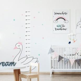 Detská nálepka na stenu na meranie výšky s motívom labute