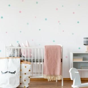 Detské nálepky na stenu s motívom pastelových hviezd