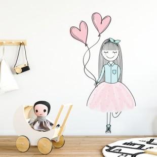 Detská nálepka na stenu s motívom dievčatka s balónikmi