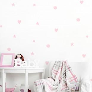 Detské nálepky na stenu s motívom bodiek, hviezd a srdiečok