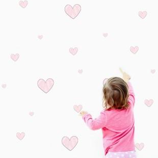 Detské nálepky na stenu s motívom srdiečok