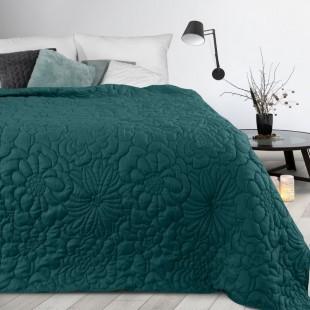 Tmavotyrkysový prehoz na posteľ s kvetinovým vzorom