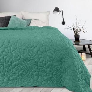 Tyrkysový prehoz na posteľ s kvetinovým vzorom