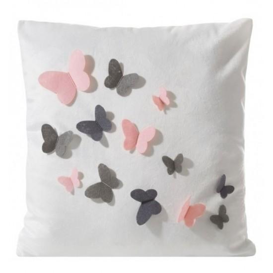 Biela obliečka na vankúšik s 3D aplikáciou ružových a sivých motýlikov