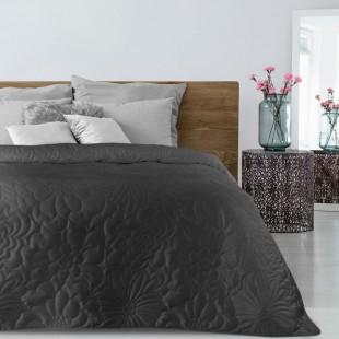 Čierny zamatový prehoz na posteľ s kvetinovým vzorom