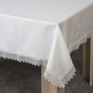 Béžový dekoračný obrus na stôl s čipkou