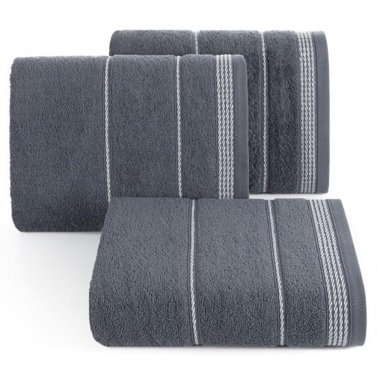 Tmavosivý bavlnený uterák s ozdobným vzorom