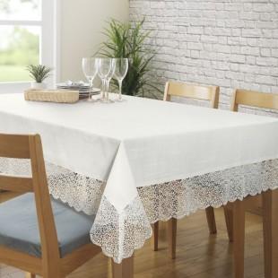 Biely dekoračný obrus s čipkovaným lemovaním