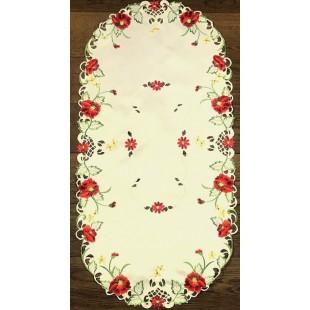 Krémový dekoračný behúň  s kvetinovým motívom