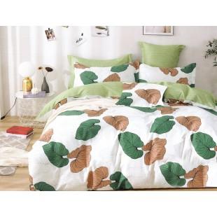 Biela posteľná obliečka zo saténovej bavlny s rastlinným vzorom