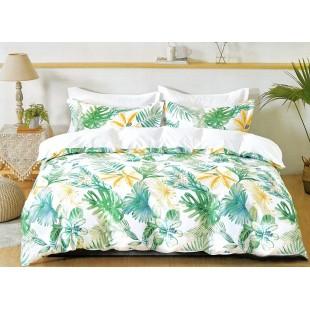 Bielo-zelená posteľná obliečka zo saténovej bavlny s rastlinným motívom