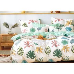 Krémová posteľná obliečka zo saténovej bavlny s rastlinným motívom