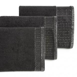 Tmavohnedý uterák z bavlny so striebornou ozdobnou časťou