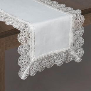 Biely dekoračný behúň s ozdobnou čipkou