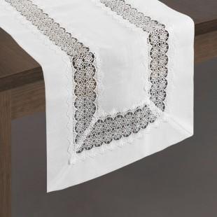 Biely dekoračný čipkovaný behúň