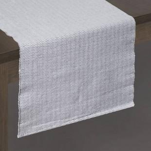 Biely vzorovaný behúň na stôl