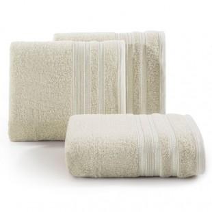Béžová osuška z česanej bavlny s ozdobnými pásmi