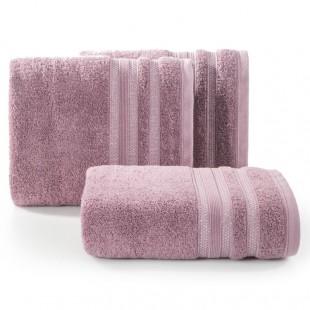 Ružová osuška z česanej bavlny s ozdobnými pásmi