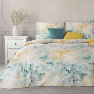 Viacfarebná posteľná obliečka zo saténovej bavlny s rastlinným vzorom