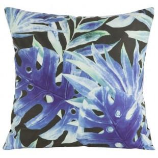 Čierno-modrá obliečka na dekoračný vankúš s rastlinným vzorom