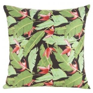 Čierno-zelená obliečka na dekoračný vankúš s rastlinným motívom