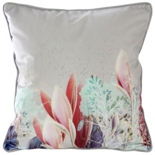 Ružovo-strieborná obliečka na dekoračný vankúš s kvetinovým motívom