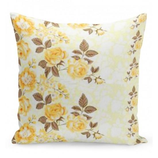 Krémová obliečka na vankúš so žltými ružami