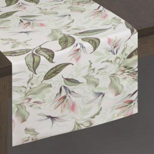 Bielo-zelený dekoračný behúň s rastlinným motívom