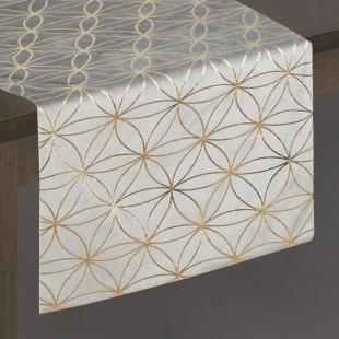 Sivý dekoračný behúň so zlatým vzorom