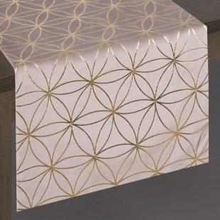 Jemne ružový dekoračný behúň so zlatým vzorom