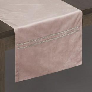 Jemne ružový dekoračný behúň so striebornou dekoráciou