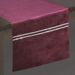 Bordový dekoračný behúň so striebornou dekoráciou