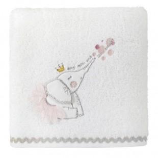 Dievčenská ružovo biela osuška s detským motívom sloníka