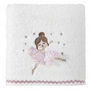 Dievčenská ružovo biela osuška s detským motívom baletky