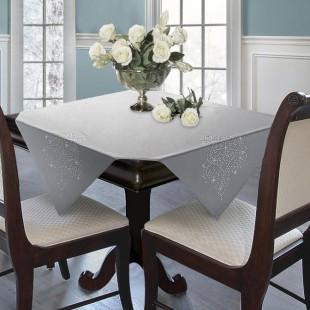 Sivo-strieborný dekoračný obrus s kamienkami