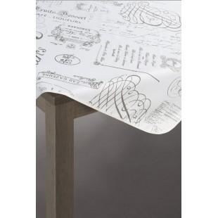 Bielo-strieborný dekoračný obrus s nápismi