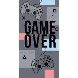 Sivo-čierny detský plážový ručník s nápisom Game over