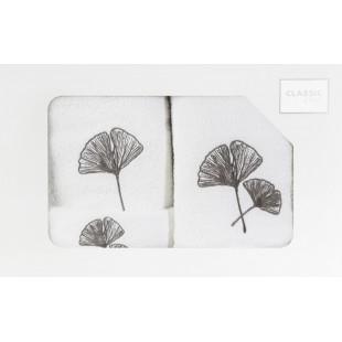 Sada 3 ručníkov v bielej farbe s rastlinným vzorom