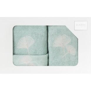 Sada 3 ručníkov v mentolovej farbe s rastlinným vzorom