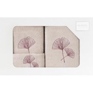 Sada 3 ručníkov v béžovej farbe s rastlinným vzorom