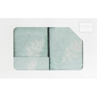 3- časťový komplet osušky a uterákov do kúpeľne mentolovej farby s motívom rastliny