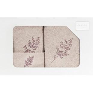 3- časťový set osušky a uterákov do kúpeľne v béžovej farbe