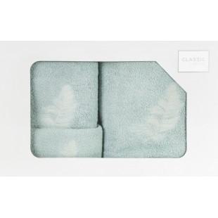 Sada 3 ručníkov s rastlinným vzorom mentolovej farby