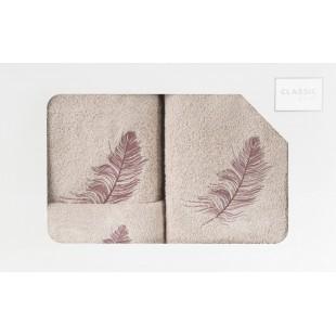 Sada 3 ručníkov s rastlinným vzorom béžovej farby