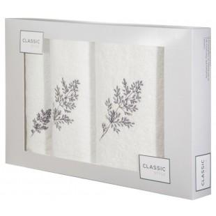 3-časťový set osušky a uterákov do kúpeľne bielej farbe