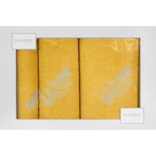 3-časťový komplet osušky a uterákov do kúpeľne žltej farby s motívom rastliny