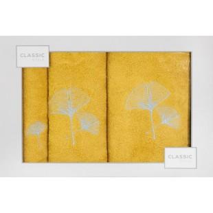 3-časťový komplet osušky a uterákov žltej farby s motívom rastliny