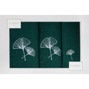 Sada 3 ručníkov zelenej farby s rastlinným vzorom